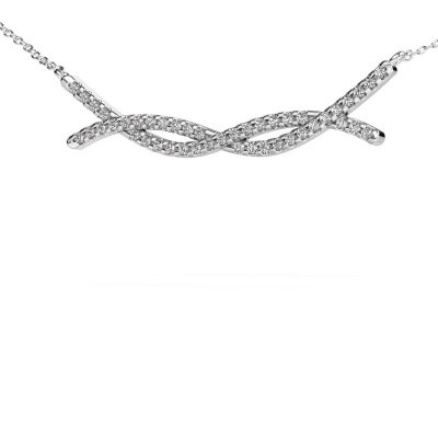 Foto van Bar ketting Breanne 585 witgoud zirkonia 1.2 mm