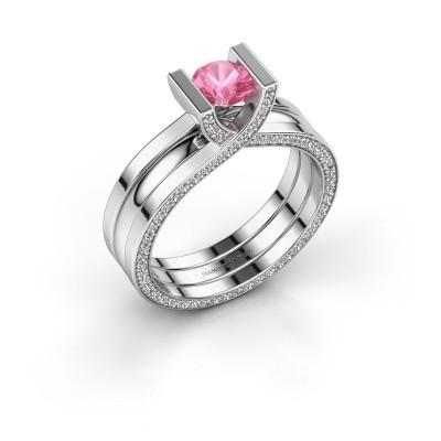 Foto van Ring Kenisha 925 zilver roze saffier 5 mm