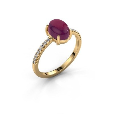 Ring Becky 585 goud rhodoliet 8x6 mm