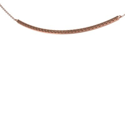 Picture of Bar necklace Simona 375 rose gold brown diamond 0.48 crt