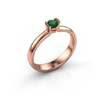 Foto van Verlovingsring Ophelia 585 rosé goud smaragd 4 mm