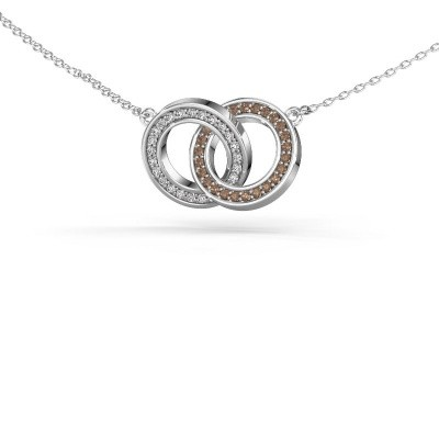 Picture of Necklace Circles 2 585 white gold brown diamond 0.25 crt