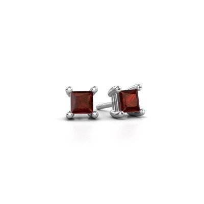 Picture of Stud earrings Sam square 925 silver garnet 4 mm