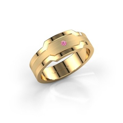 Foto van Heren ring Guido 585 goud roze saffier 2 mm