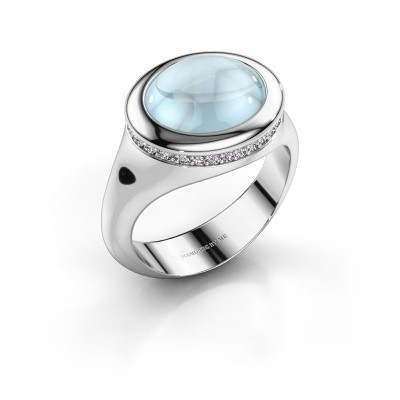 Foto van Ring Lesli ovl 925 zilver aquamarijn 12x10 mm