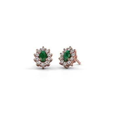 Picture of Earrings Leesa 375 rose gold emerald 6x4 mm