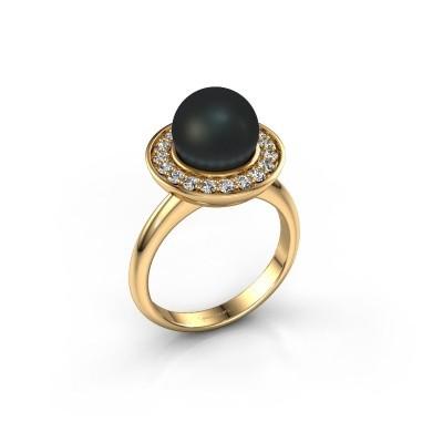 Foto van Ring Sarah 750 goud zwarte parel 9 mm