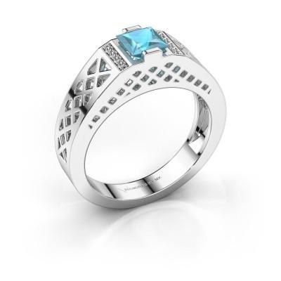 Foto van Heren ring Jonathan 375 witgoud blauw topaas 5 mm