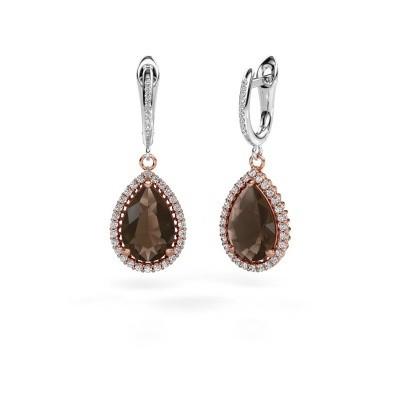 Picture of Drop earrings Hana 2 585 rose gold smokey quartz 12x8 mm