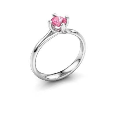 Foto van Verlovingsring Livia 950 platina roze saffier 5 mm