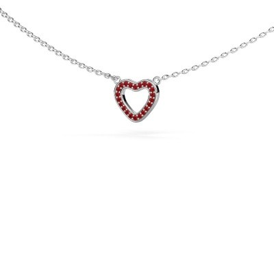 Picture of Pendant Heart 4 585 white gold ruby 0.8 mm