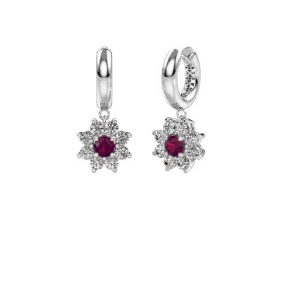 Picture of Drop earrings Geneva 1 585 white gold rhodolite 4.5 mm