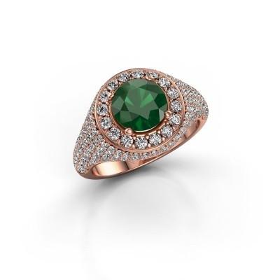 Foto van Ring Dayle 375 rosé goud smaragd 7 mm