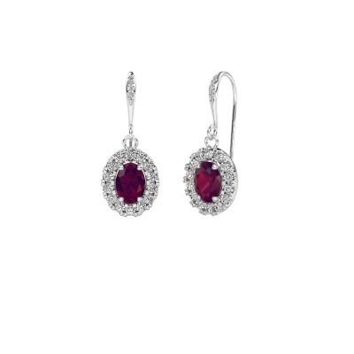 Picture of Drop earrings Jorinda 2 375 white gold rhodolite 7x5 mm