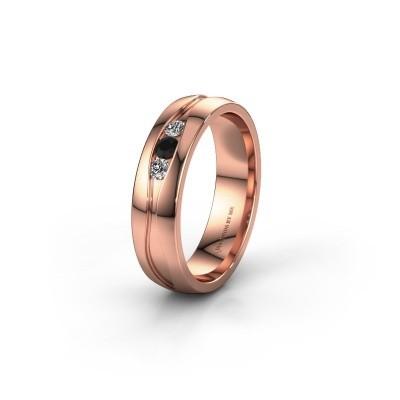 Trouwring WH0172L25A 585 rosé goud zwarte diamant ±5x1.7 mm