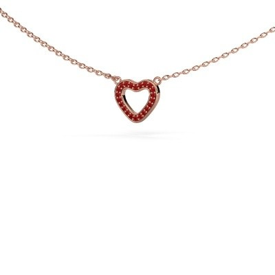 Picture of Pendant Heart 4 375 rose gold ruby 0.8 mm