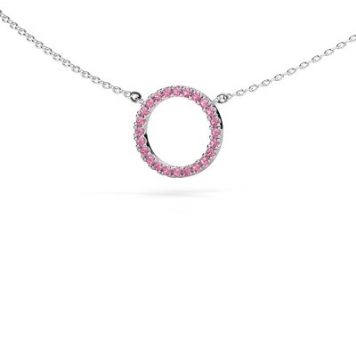 Picture of Pendant Circle 585 white gold pink sapphire 1.2 mm