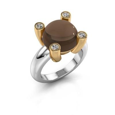 Picture of Ring Janice RND 585 white gold smokey quartz 12 mm