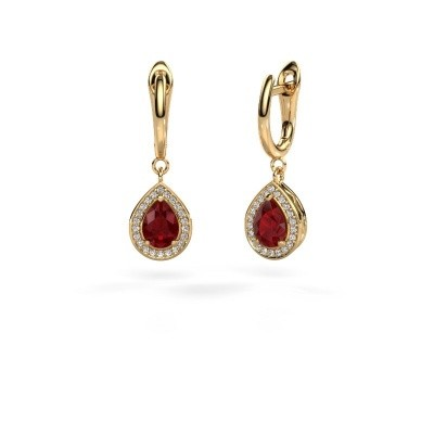 Picture of Drop earrings Ginger 1 585 gold ruby 7x5 mm