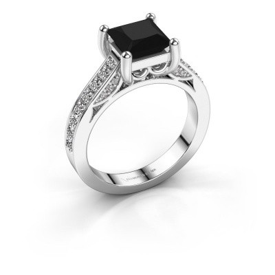 Verlovings ring Feline 585 witgoud zwarte diamant 2.46 crt