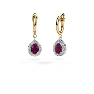Picture of Drop earrings Ginger 1 585 white gold rhodolite 7x5 mm