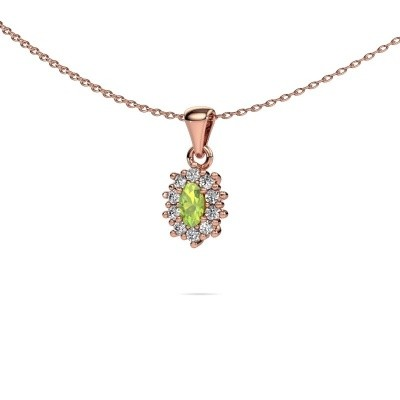 Picture of Necklace Leesa 375 rose gold peridot 6x4 mm