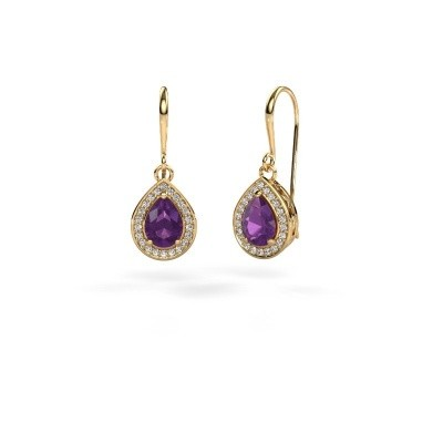Picture of Drop earrings Beverlee 1 750 gold amethyst 7x5 mm