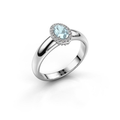 Engagement ring Tamie 925 silver aquamarine 6x4 mm