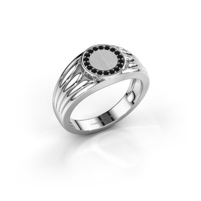 Foto van Pinkring Jacobus 925 zilver zwarte diamant 0.162 crt