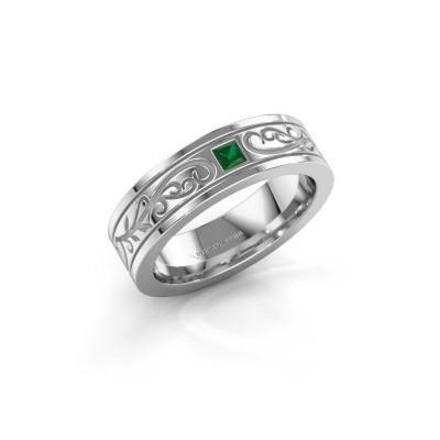 Foto van Heren ring Matijs 950 platina smaragd 3 mm