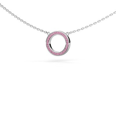 Bild von Anhänger Round 1 925 Silber Pink Saphir 0.8 mm