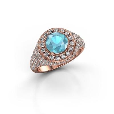 Foto van Ring Dayle 375 rosé goud blauw topaas 7 mm
