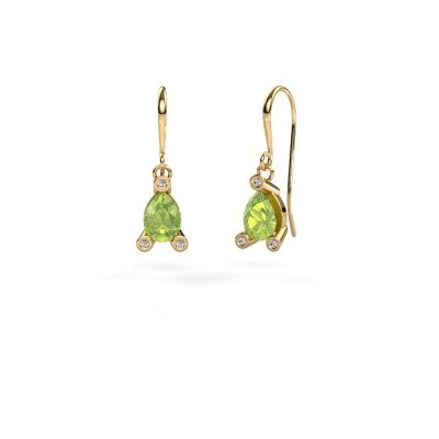 Picture of Drop earrings Bunny 1 585 gold peridot 7x5 mm