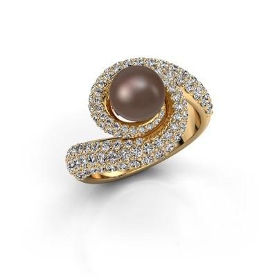 Foto van Ring Klasina 375 goud bruine parel 7 mm