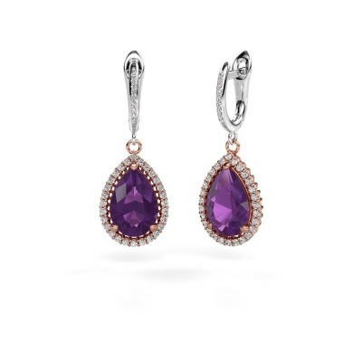 Picture of Drop earrings Hana 2 585 rose gold amethyst 12x8 mm