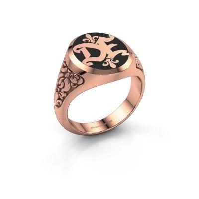 Foto van Monogram ring Brian Emaille 585 rosé goud zwarte emaille