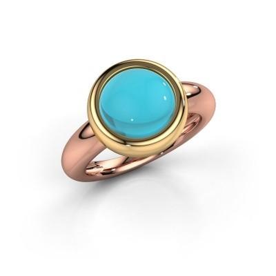 Foto van Ring Jenae 585 rosé goud blauw topaas 10 mm