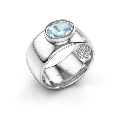 Foto van Ring Anouschka 925 zilver aquamarijn 8x6 mm