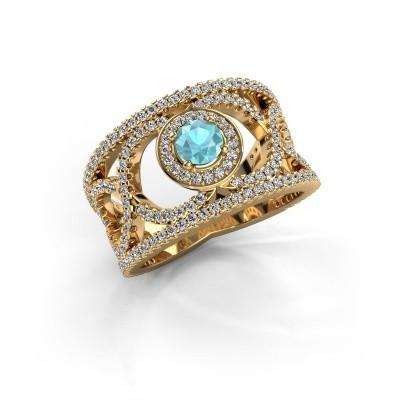 Foto van Ring Regina 585 goud blauw topaas 4.2 mm