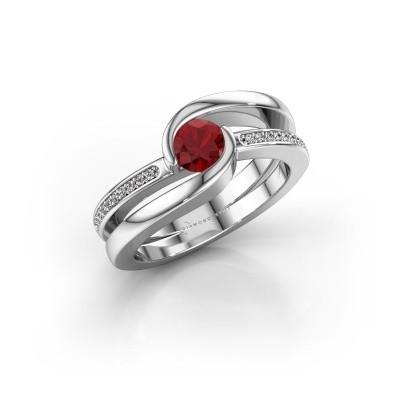 Foto van Ring Xenia 950 platina robijn 5 mm