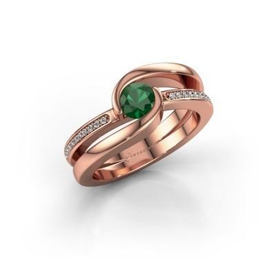 Foto van Ring Xenia 375 rosé goud smaragd 5 mm