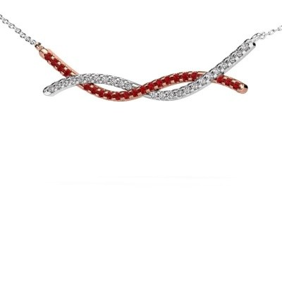 Picture of Bar necklace Breanne 585 rose gold ruby 1.2 mm