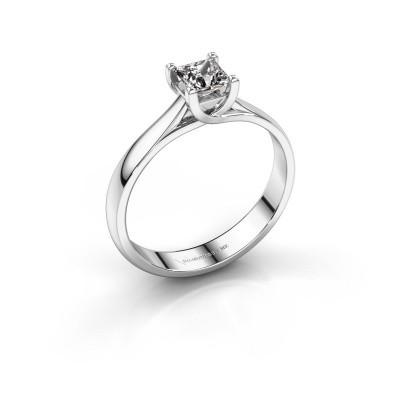 Aanzoeksring Mia Square 585 witgoud diamant 0.40 crt