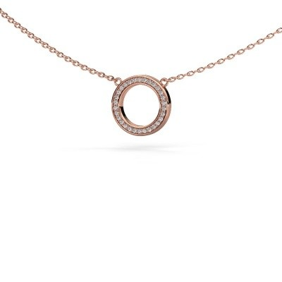 Picture of Pendant Round 1 375 rose gold zirconia 0.8 mm