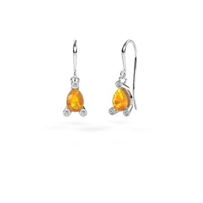 Picture of Drop earrings Bunny 1 375 white gold citrin 7x5 mm
