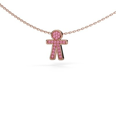 Picture of Pendant Boy 375 rose gold pink sapphire 1 mm