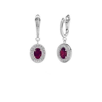 Picture of Drop earrings Layne 2 950 platinum rhodolite 7x5 mm