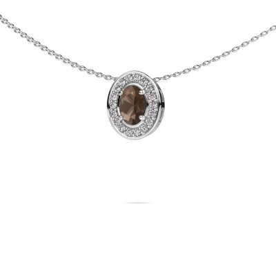 Picture of Necklace Madelon 585 white gold smokey quartz 6x4 mm