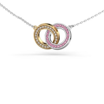 Picture of Necklace Circles 2 585 gold pink sapphire 1 mm
