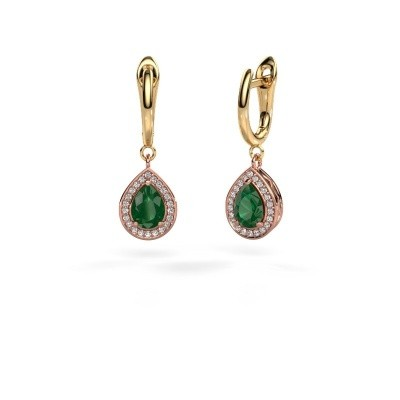 Picture of Drop earrings Ginger 1 585 rose gold emerald 7x5 mm